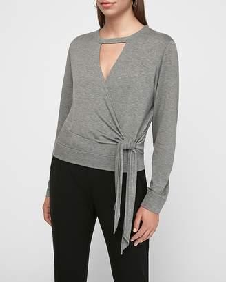 Express Heathered Wrap Front Cut-Out Sash Tie Fleece Sweatshirt