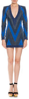 Balmain Patchwork Suede Mini Dress, Blue