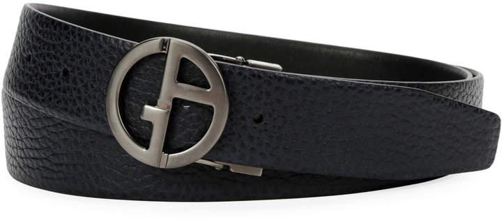 e08d28f59d Men's Logo-Buckle Textured Vitello Leather Belt