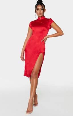 PrettyLittleThing Red High Neck Short Sleeve Midi Dress