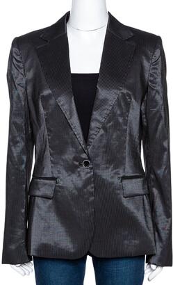 Just Cavalli Black Striped Cotton Ramie Blend Single Buttoned Blazer L