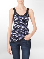 Calvin Klein Exotic Print Lace Trim Tank Top