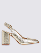 M&S Collection Block Heel Sling Back Court Shoe