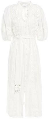 Zimmermann Tasseled Ramie Guipure Lace Midi Dress