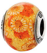 Murano Prerogatives Sterling Orange&Yellow Floral Italian Bead