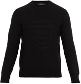 Alexander McQueen Skull-jacquard wool and cashmere-blend sweater