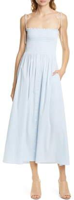 La Ligne Lou Stripe Chambray Smocked Bodice Strapless Midi Dress