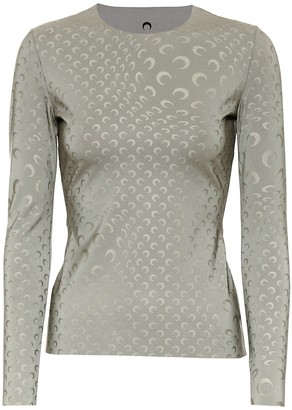 Marine Serre Printed reflective stretch-jersey top