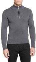 Tom Ford Merino Wool Fine-Rib Quarter-Zip Sweater, Gray