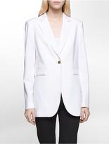 Calvin Klein Luxe One-Button Long Suit Jacket