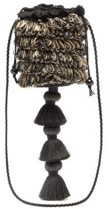 Eliurpi - Tasselled Fringed Straw Basket Bag - Black Multi