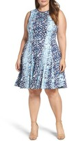 Gabby Skye Plus Size Women's Abstract Print Jersey Fit & Flare Dress