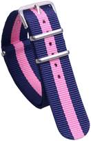 AUTULET Dark Blue/Pink Stylish NATO Style Sturdy Exotic Nylon Canvas Men's Wrist Watch Band Strap