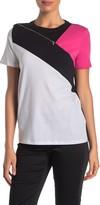 Donna Karan Short Sleeve Zipper Accent Top