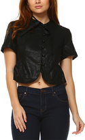Black Cropped Linen-Blend Button-Up