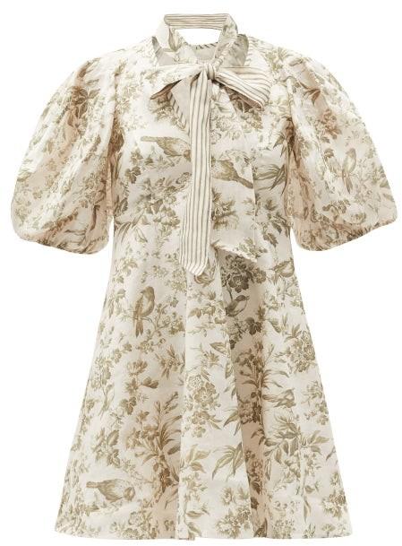 Zimmermann Puff-sleeve Bird-print Linen Mini Dress - White Print