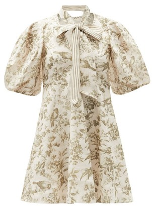 Zimmermann Puff-sleeve Bird-print Linen Mini Dress - White Print