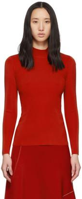 Victoria Beckham Red Open Back High Neck Sweater