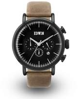 Edwin EW1G013L0084 Men's Stainless Steel Brown Leather Band Dial Watch