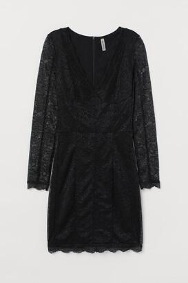 H&M Lace V-neck Dress - Black