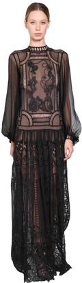 Alberta Ferretti Long Silk Chiffon & Lace Dress