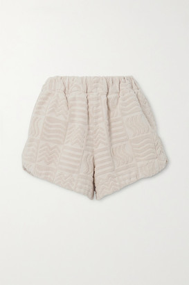 LUCY FOLK Cabana Cotton-terry Shorts - Ecru
