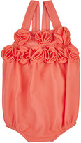 Lili Gaufrette Flower-Appliquéd Microfiber Swimsuit