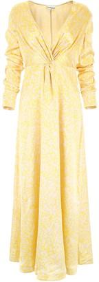 Ganni Printed Plunging Maxi Dress
