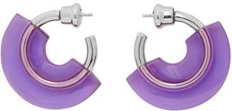 Panconesi Silver and Purple Mini Resin Hoop Earrings