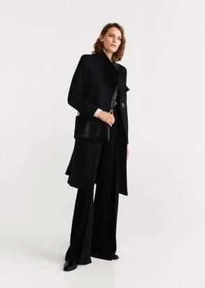 MANGO Belted wool coat medium brown - XXS - Women