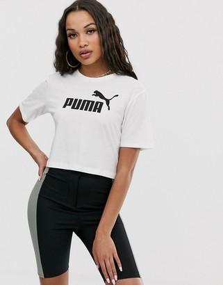 Puma Essentials cropped logo t-shirt in white