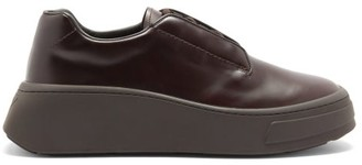 Prada Chunky-sole Logo-debossed Leather Derby Shoes - Brown