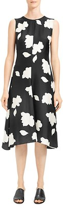 Theory Floral Print Silk Fit Flare Dress