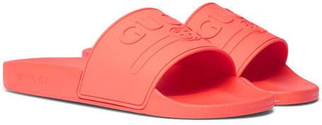 Gucci Logo-Embossed Rubber Slides - Men - Tomato red