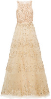 Oscar de la Renta Tiered Embellished Tulle Gown - Cream