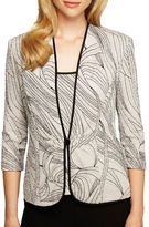 Alex Evenings Plus Printed Jacket and Scoopneck Top Set