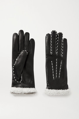Agnelle Marie Louise Alpaca-lined Leather Gloves - Black