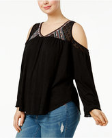 Eyeshadow Trendy Plus Size Embellished Cold-Shoulder Top