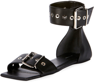 Balenciaga Flat Belted Leather Sandals