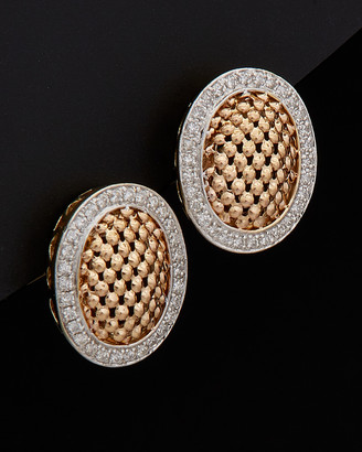 Meshmerise 14K Italian Gold Two-Tone 0.50 Ct. Tw. Diamond Mesh Clip Earrings