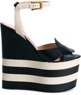 Gucci striped platform sandals - women - Leather/Nappa Leather - 38.5
