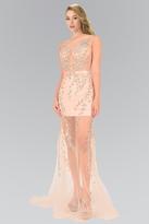 Elizabeth K - Illusion Bateau Neckline with Sheer Skirt Gown GL2087