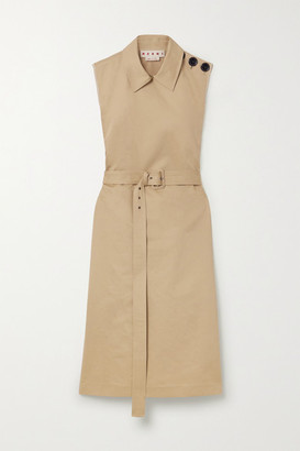 Marni Belted Cotton And Linen-blend Drill Dress - Beige