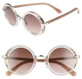 Jimmy Choo Women's Gems 48Mm Round Sunglasses - Crystal/ Palladium/ Brown