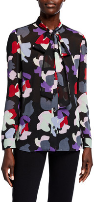 Emporio Armani Abstract Floral Pleated Crepe Tie-Neck Button-Down Blouse