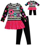 Dollie & Me Pink & Black Leggings Set & Doll Outfit - Girls