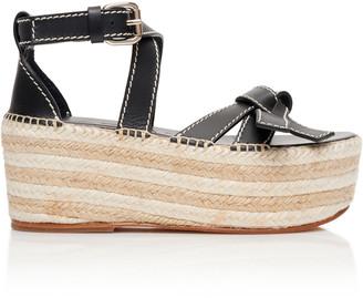 Loewe Gate Leather Espadrille Platform Sandals
