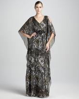Badgley Mischka Beaded Caftan Gown
