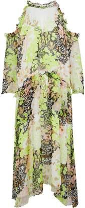 Opening Ceremony Cold-shoulder Embellished Printed Georgette Midi Dress