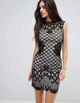 Lipsy Grid Lace Pencil Dress